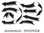 set of black vector arrows with ... | Shutterstock .eps vector #294139328