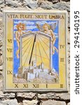 Ancient Sundial Clock On The...