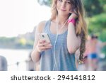 woman checking her fitness... | Shutterstock . vector #294141812
