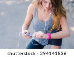 woman checking her fitness... | Shutterstock . vector #294141836