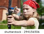 Girl Archer With Bow Shooting...