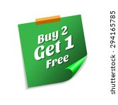 buy 2 get 1 free green sticky...   Shutterstock .eps vector #294165785