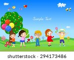 kids and frame | Shutterstock .eps vector #294173486