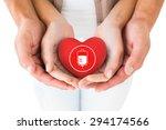 couple holding miniature heart... | Shutterstock . vector #294174566