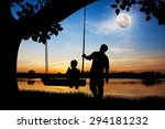 silhouette of father and son... | Shutterstock . vector #294181232