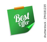 best offer green sticky notes...   Shutterstock .eps vector #294181235