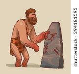 Caveman Making Art  Vector