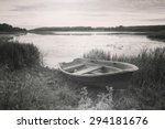A Lonely Boat Laying In The...