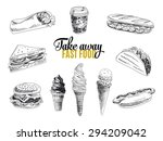 vector set of fast food. vector ... | Shutterstock .eps vector #294209042