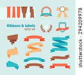 vector ribbons and labels in... | Shutterstock .eps vector #294209978