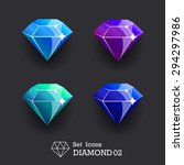 collection icons diamond blue...