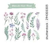 set of hand painted purple... | Shutterstock .eps vector #294303305