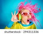 crazy expressive trendy dj girl ... | Shutterstock . vector #294311336