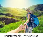 couple hiking in the mountains. ... | Shutterstock . vector #294328355