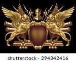 shield with winged lions and... | Shutterstock .eps vector #294342416