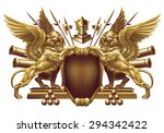 shield with winged lions and... | Shutterstock .eps vector #294342422