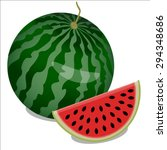 watermelon and piece of... | Shutterstock .eps vector #294348686