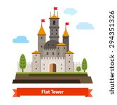 medieval fortress with towers.... | Shutterstock .eps vector #294351326