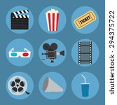 cinema icons set for use in... | Shutterstock .eps vector #294375722