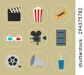 cinema icons set for use in... | Shutterstock .eps vector #294375782