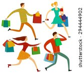 running and hurrying young... | Shutterstock .eps vector #294444902