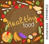healthy food flat objects... | Shutterstock .eps vector #294448412