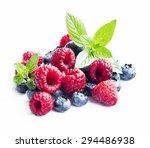 blueberries and raspberries...   Shutterstock . vector #294486938