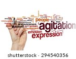 Small photo of Agitation word cloud concept with emotion problem related tags