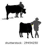 Silhouette Of Farmer Leaning O...