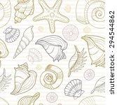 sea shell seamless pattern....   Shutterstock .eps vector #294544862