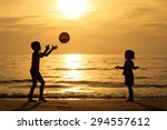 happy children playing on the... | Shutterstock . vector #294557612