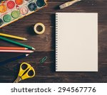 top view of blank notebook and... | Shutterstock . vector #294567776
