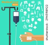 saline solution bag with pole ... | Shutterstock .eps vector #294598922