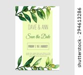 vector watercolor save the date ... | Shutterstock .eps vector #294613286