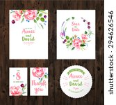 wedding cards with watercolor... | Shutterstock .eps vector #294626546