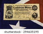 confederate states five hundred dollar bill on confederate battle flag