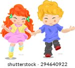 children happily running | Shutterstock .eps vector #294640922