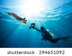 diver takes photo of sea turtle ... | Shutterstock . vector #294651092