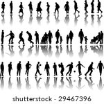 silhouette of people in action... | Shutterstock .eps vector #29467396