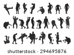 silhouettes of drunk people | Shutterstock .eps vector #294695876