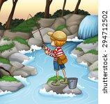 Boy Fishing Alone In The Stream