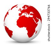 white globe with red continents ... | Shutterstock .eps vector #294733766
