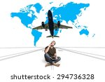 man sitting on the runway with... | Shutterstock . vector #294736328