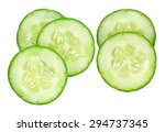 Fresh Slice Cucumber On White...