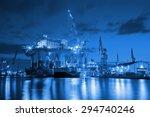 oil rig at night in shipyard  ... | Shutterstock . vector #294740246