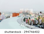 many empty glass on counter at... | Shutterstock . vector #294746402