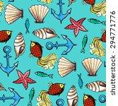 vector watercolor sea seamless...   Shutterstock .eps vector #294771776