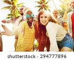 friends summer beach party... | Shutterstock . vector #294777896