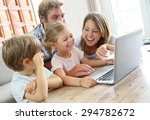 parents with kids at home using ... | Shutterstock . vector #294782672