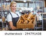 pretty waitress carrying basket ... | Shutterstock . vector #294791438